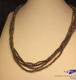 Calgaro Calgaro collier zwart geweven zilver