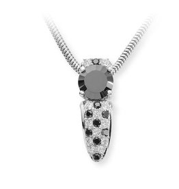 silver pendant with white and black zirconia's