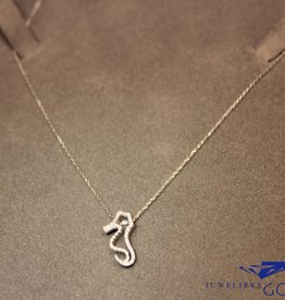 18 carat white gold necklace seahorse diamond