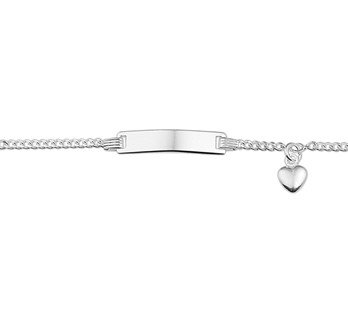 Silver baby bracelet with heart engravable 11-13cm