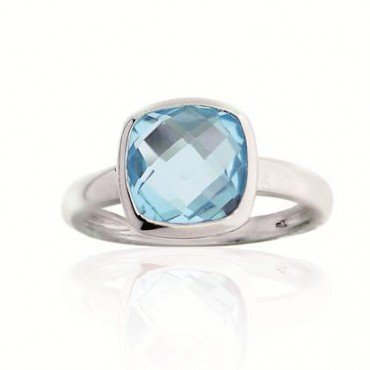 Silver ring set with princess cut blue topaz