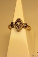 18k antieke ring met roos geslepen diamant art deco stijl
