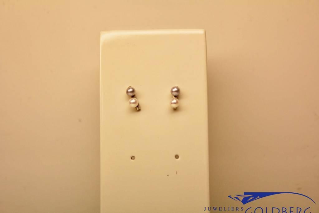 14k witgouden oorstekers met parel
