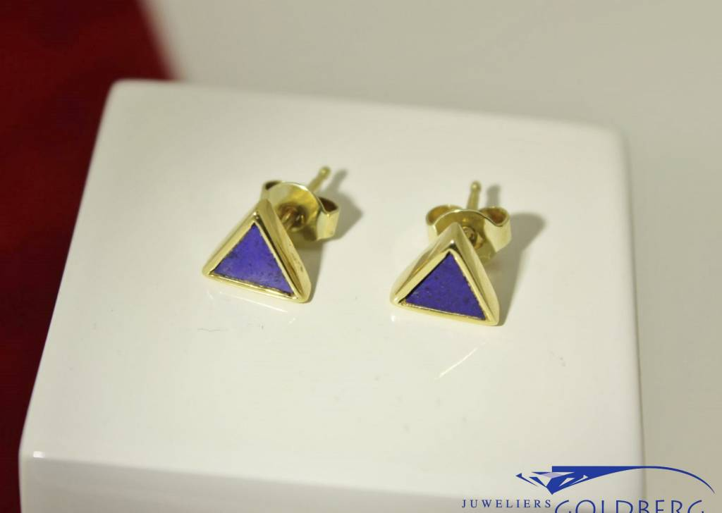 14 carat gold triangle earrings with Lapis Lazuli