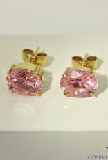 Vintage 14 carat gold earring with pink zirconia