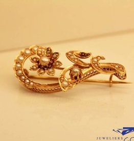 Antieke 14k gouden broche met parels