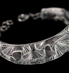 Sanjoya Elegant silver bracelet, dark grey, handcrafted, Sanjoya