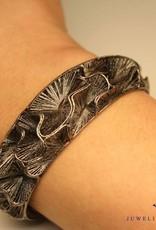 Sanjoya Zilveren elegante armband, donkergrijs, kant bewerkt, Sanjoya