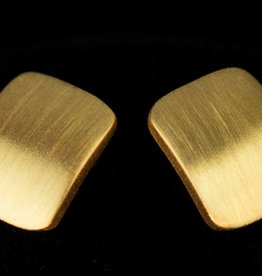 Sanjoya Stylish matte, gold plated silver square earrings, Sanjoya