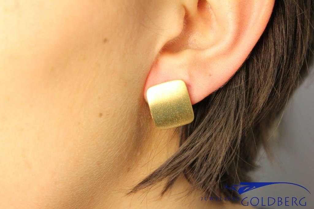 Sanjoya Stylish matte, gold plated silver square earrings, Sanjoya