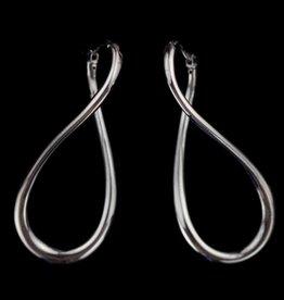 Sanjoya Zilveren donkergrijze infinity oorbellen, Sanjoya