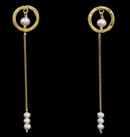 Sanjoya Lange vergulde zilveren oorbellen met pareltjes
