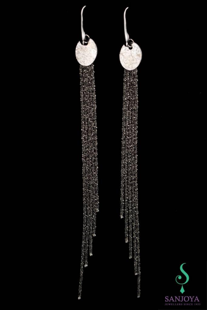 Sanjoya Stylish long black silver earrings, Sanjoya