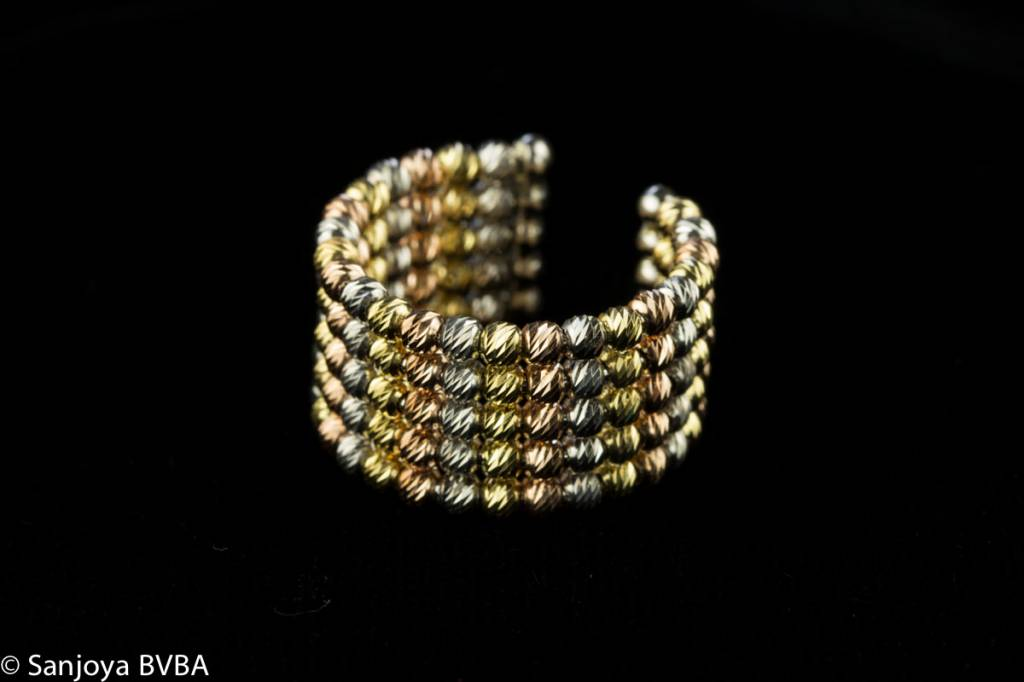 Sanjoya Italian 3-color ring with 5 lines of silver balls