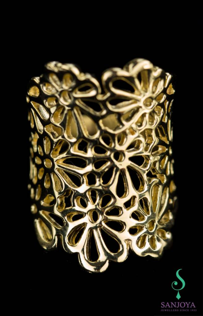 Sanjoya Wide open crafted gold plated silver ring