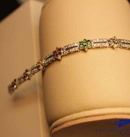 18k witgouden armband met briljant en kleurstenen