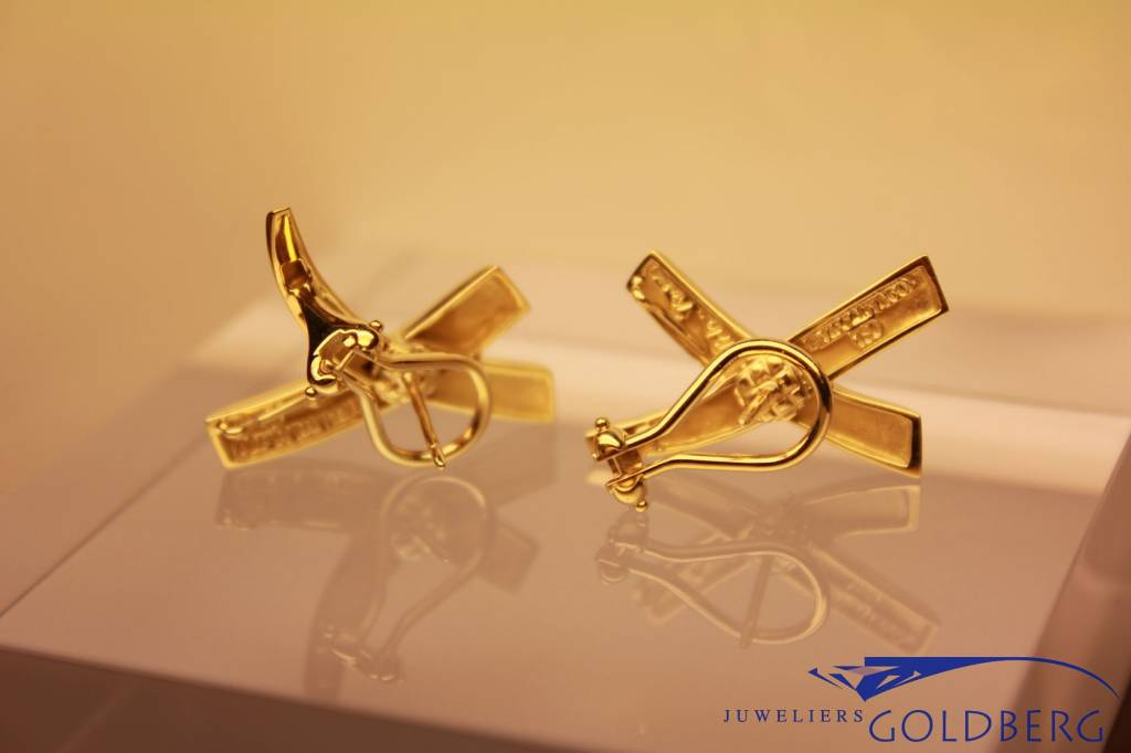 """Vintage 18 carat gold """"signature X 'earrings Tiffany & Co. Paloma Picasso"""