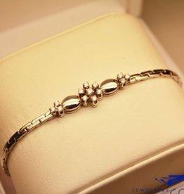 14k witgouden armband met briljanten