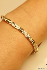 14 carat yellow gold bracelet with zirconia