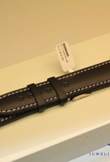 Handmade watch band ECO calfskin black with white stitchings 20/18mm