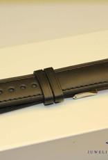 Handmade watch band ECO calfskin black with black stitchings 20/18mm