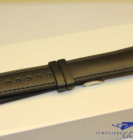 Handmade watch band ECO calfskin black with black stitchings 20/18mm
