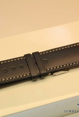 Handmade watch band ECO calfskin black with cream white stitching 22/20mm