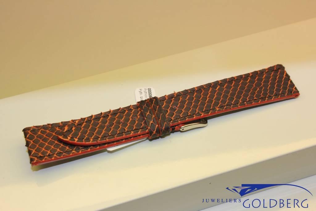 Handmade watch band python leather orange brown 19/18mm