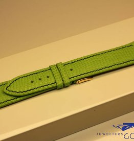 Handgemaakte horlogeband hagedis gifgroen donkergroen stiksel 20/18mm