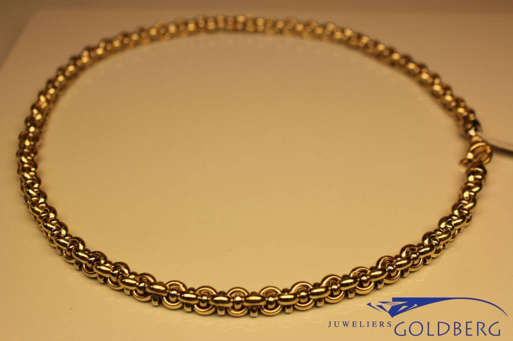 14k gouden bicolor fantasie collier 7mm