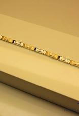 14k gouden bicolor armbandje met zirconia's