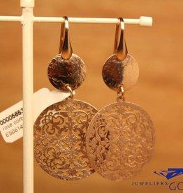 Sanjoya Zilveren rose hangende oorbellen