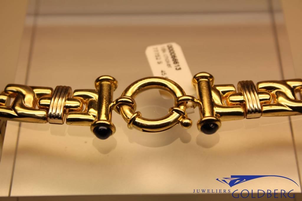18k gouden plat fantasie collier met sierslot