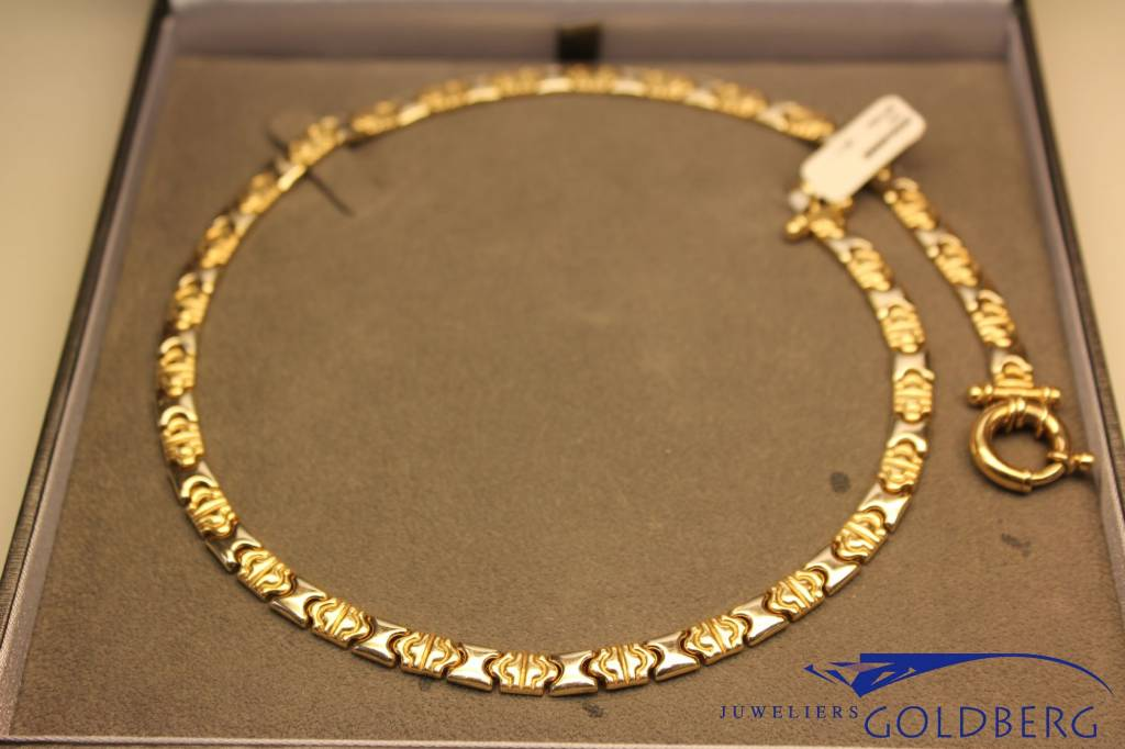 14 carat gold flat necklace with large round lock bicolor