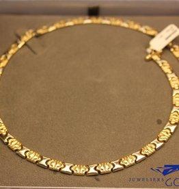 14k gouden plat collier bicolor met sierslot