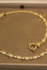 Vintage 14 carat gold bicolor flat necklace with large round lock
