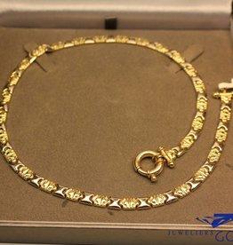 Vintage 14k gouden plat collier met sierslot bicolor