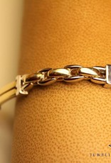 14 carat bicolor gold men's bracelet with slightly rounded links