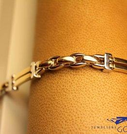 14k gouden heren armband bicolor met afgeronde schakels