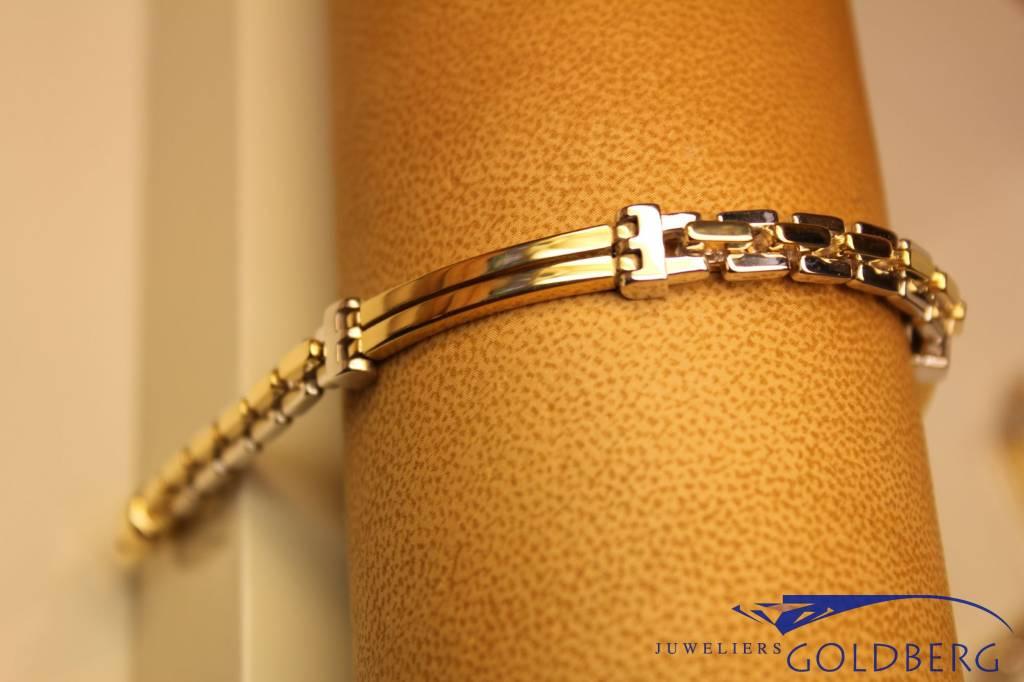 14 carat bicolor gold men's bracelet with straight links
