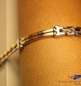 14k gouden heren armband bicolor met rechte schakels