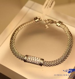 silver bracelet with zirconia's modern rectangular