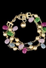 Sanjoya vergulde zilveren armband met kleurstenen 3-rijen.