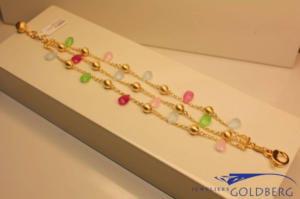 Sanjoya Gold plated silver bracelet with colored stones, 3 rows.