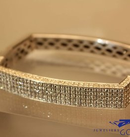 white gold rectangular bangle with 4.84ct of diamonds