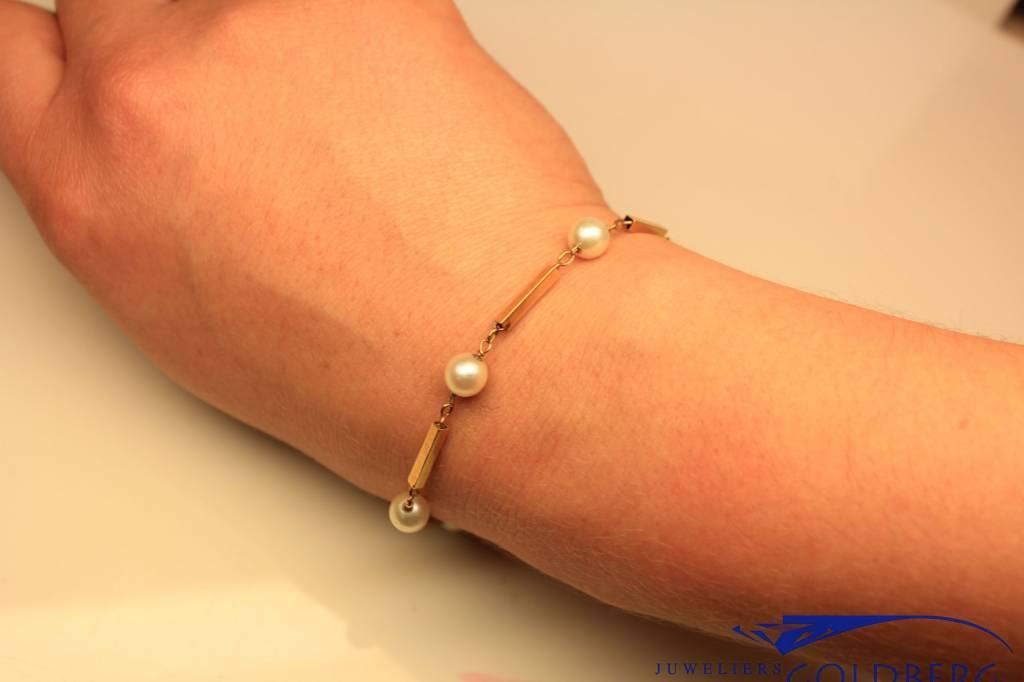 Vintage 18k gouden armband met parels