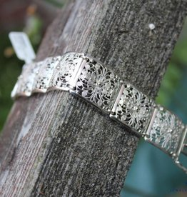 Vintage zilveren plaatjes armband