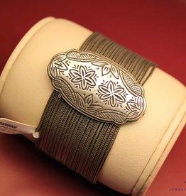 Brede vintage armband zilver