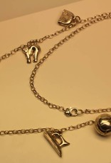 Small silver charm necklace with 6 charms