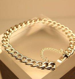 Zilveren gourmet armbandje met veiligheidsketting